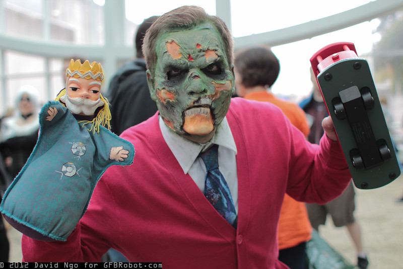 Zombie Mr. Rogers, King Friday, and Neighborhood Trolley