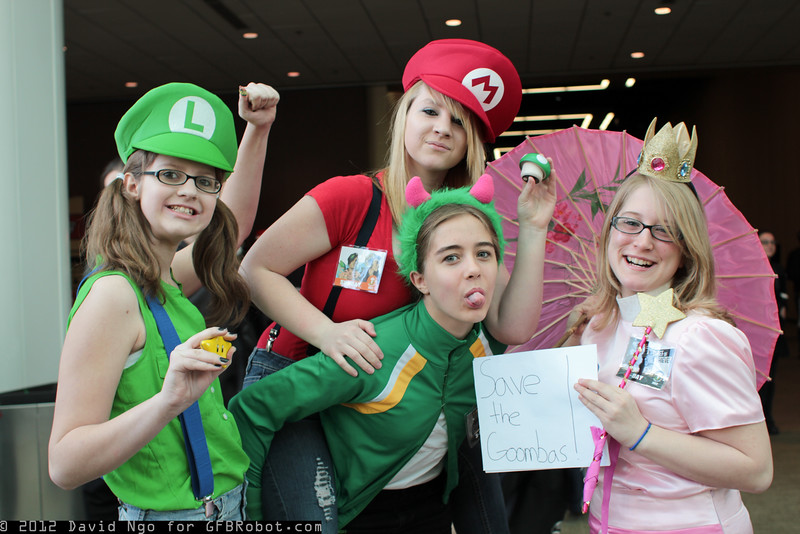 Luigi, Mario, Yoshi, and Princess Peach