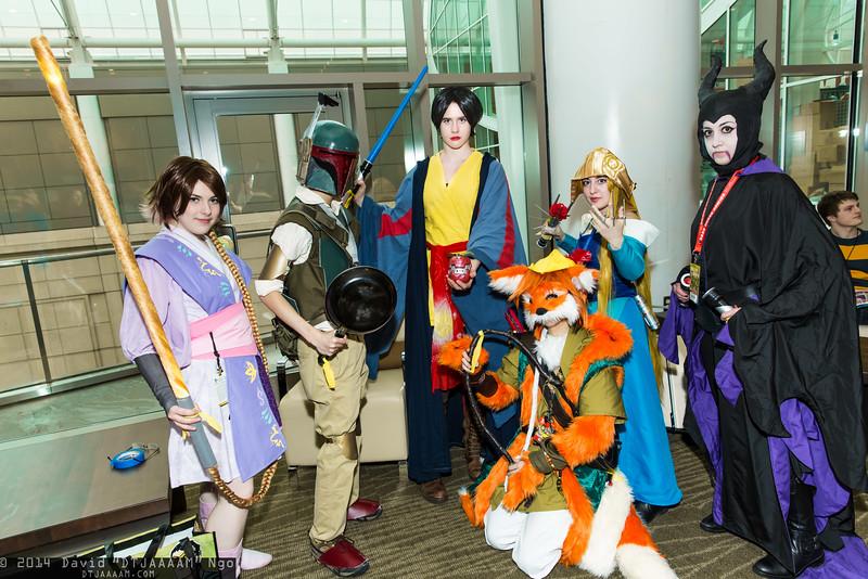 Rapunzel, Flynn Rider, Snow White, Robin Hood, Princess Aurora, and Maleficent