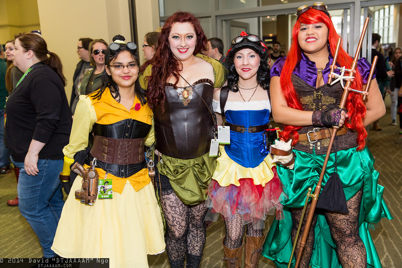 Belle, Tiana, Snow White, and Ariel