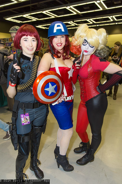 Black Widow, Captain America, and Harley Quinn