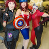Black Widow, Captain America, and Harley Quinn