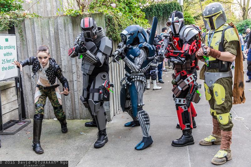 Jack, Commander Shepard, Legion, Deadshot, and Mandalorian