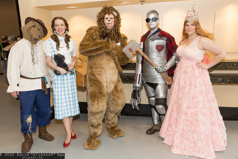 Scarecrow, Dorothy Gale, Cowardly Lion, Tin Man, and Glinda the Good Witch of the South, and Toto