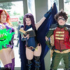 Starfire, Raven, and Robin