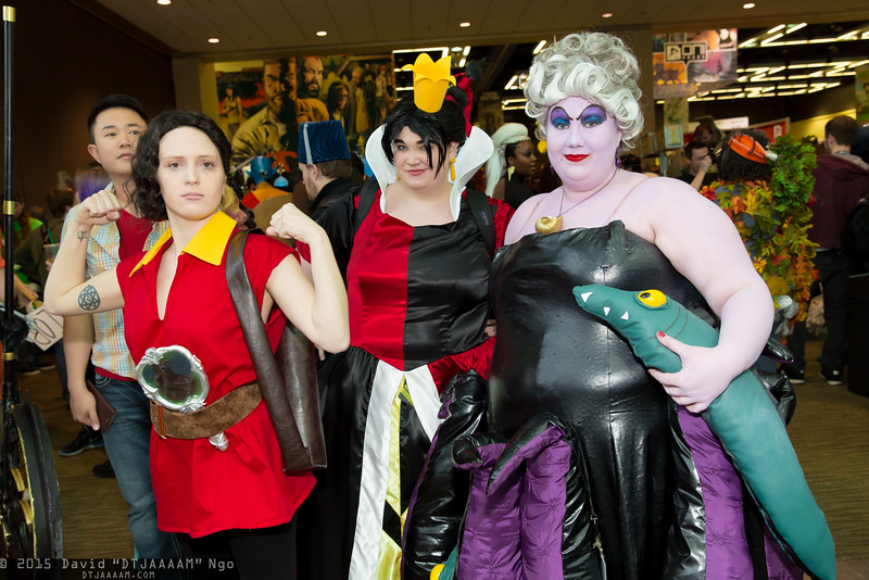 Gaston, Queen of Hearts, and Ursula