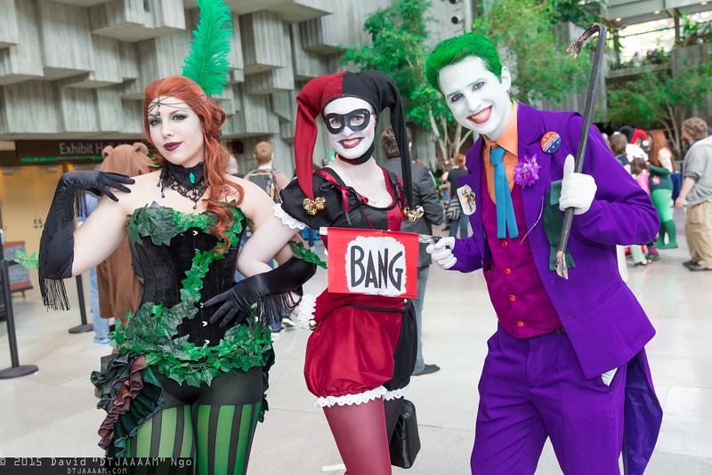 Poison Ivy, Harley Quinn, and Joker