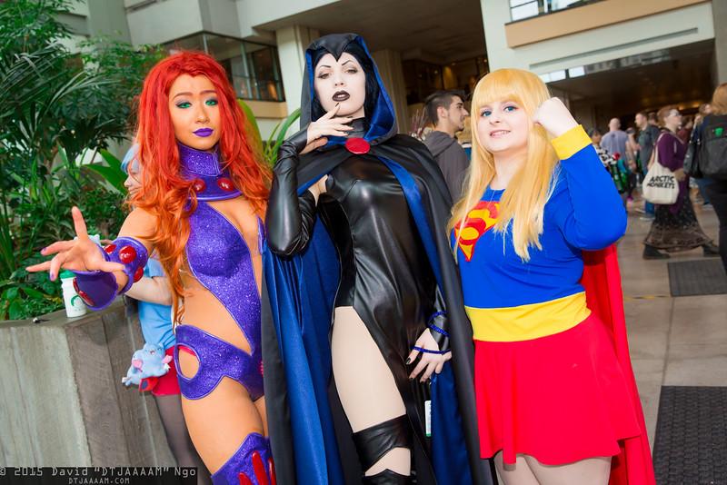 Starfire, Raven, and Supergirl