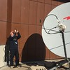 Lasse Axelsson searching satellites to correctly point the satellite phone antenna at COMCEN in Sulaymaniyah. WFP/ Erika Iglesias