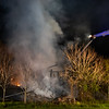 Firefighters work at the scene of a fully-involved working fire in a historic civil war-era barn on the 2100 block of Baltimore Pike, to the rear of the Gettysburg Outlets, early Wednesday, April 28, 2021, in Mount Joy Township. No one was injured in the fire, which is being investigated by the State Police Fire Marshal, said Barlow Fire Chief Eric Hubbard. The structure was vacant, kept by the Gettysburg Outlets property in its historic state that was once used in the Civil War as a field hospital, Hubbard said.