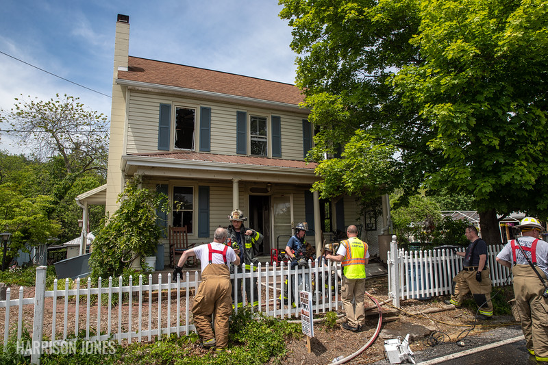 The scene of a working house fire on the 800 block of Taneytown Road, Monday, May 17, 2021, in Cumberland Township. No one was injured in the fire.