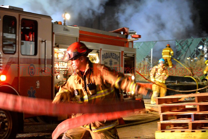Firefighters working to control a trailer fire in El Paso County, Colorado. April 9, 2015