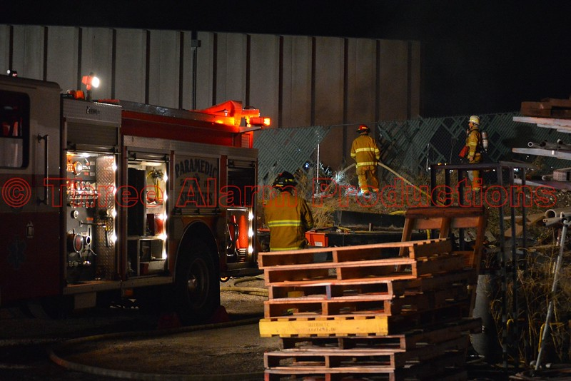 Colorado Springs Firefighters working to control a trailer on fire near the 2400 block of Wayland Place in El Paso County, Colorado. April 9, 2015