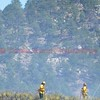 Colorado Springs Firefighters working on mop-up on a wildland fire in Pulpit Rock Park. April 24, 2016