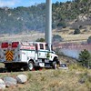 E.P.S.O. Wildland Team's Fire Engine 3110 on the scene of a wildland fire in Pulpit Rock Park, assisting Colorado Springs Firefighters.