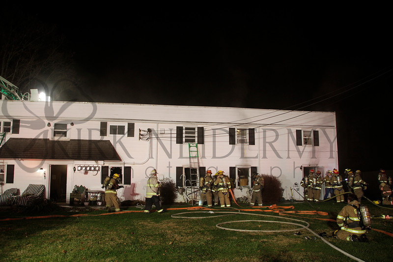 Fire crews responded battled a working apartment building fire at 554 West Broad Street in New Holland Borough on Sunday, Dec. 28, 2014.
