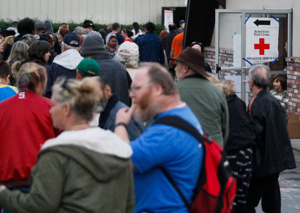 . About 700 people currently occupy the an shelter at the Silver Dollar Fairgrounds as an emergency evacuation was called Sunday evening on the town of Oroville and surrounding areas displaying over 180,000 people Monday February 13, 2017 in Chico, California. (Emily Bertolino -- Enterprise-Record)