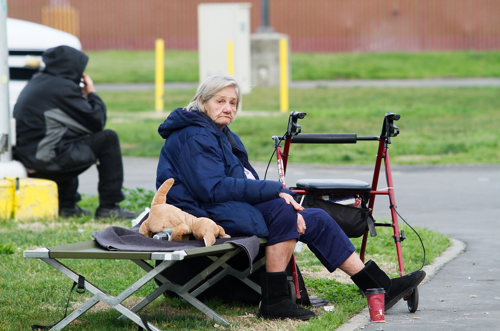 . Dorothy Melton sits on a cot at the emergency evacuation center Monday February 13, 2017 at the Silver Dollar Fairgrounds in Chico, California. About 700 people currently occupy the shelter as an emergency evacuation was called Sunday evening on the town of Oroville and surrounding areas displaying over 180,000 people. (Emily Bertolino -- Enterprise-Record)