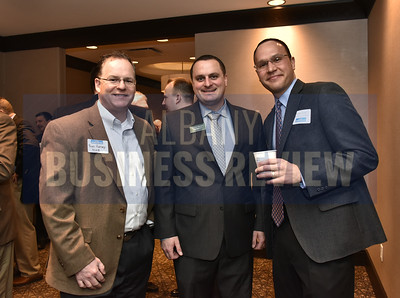 Andrew Mangini from CBRE Albany, center, with Tom Retsep, left, and Matthew Grosso from Ballston Spa National Bank
