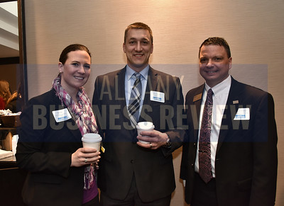 Kate Otis from DeCrescente Distributing Company, Eric Simonds from CBRE-Albany and Christopher D'Ambro from CapCom
