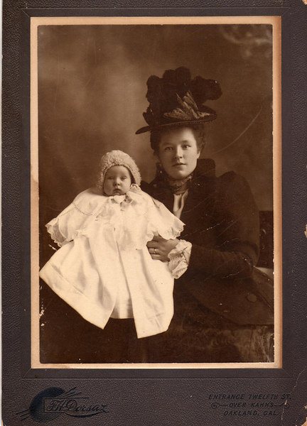 Charles Emil Lindquist and his mother, Clara Marie Anderson Lindquist - Abt. 1898 or 1899  Oakland, CA