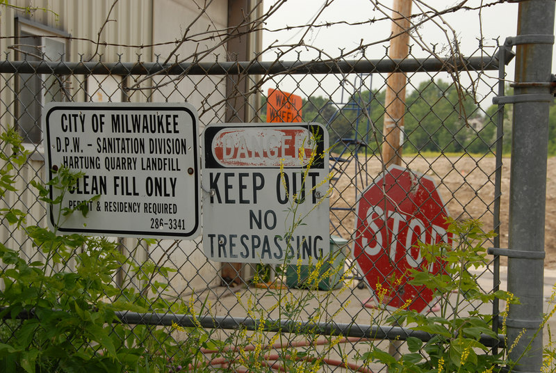 Signs at the entrance to the Hartung Quarry Landfill, Milwaukee, Wisconsin, 2006-06-15.