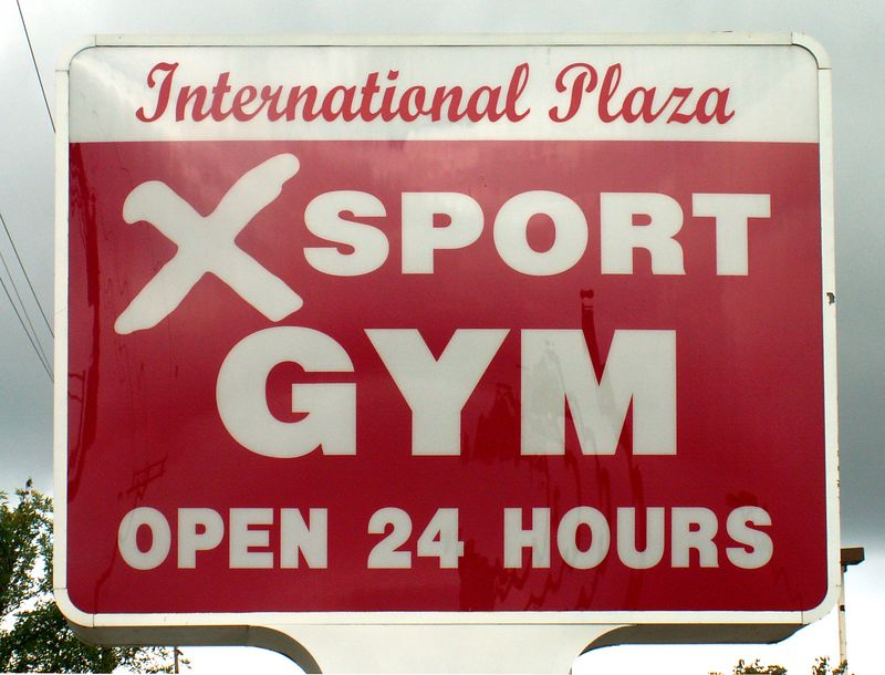 Closeup of main sign at the entrance to International Plaza, 318 E. Golf Road, Arlington Heights, Illinois.   (09/25/2005)