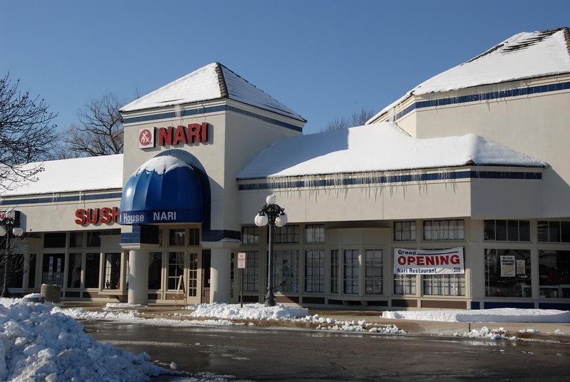 Nari Sushi restaurant with Grand Opening sign at International Plaza in Arlington Heights, Illinois.   (12/02/2006)
