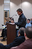 Stephen Bachtell (manager of Studio Salons) speaks against the eminent domain seizure of the International Plaza shopping center at a village board meeting in Arlington Heights, Illinois.   (12/18/2006)