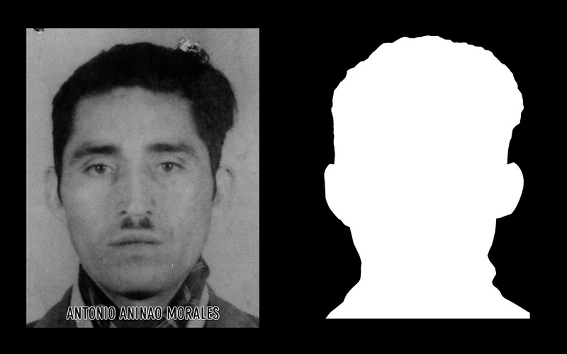 Photograph and silhouette of Antonio Aninao Morales Antonio Aninao Morales was a farmer, father of three, and an active member of the communist party. He was detained on September 11, 1973 by the Carabineros (national police force) of Llaima, and was retained in the Llaima police station for eight days after which he was released with the obligation of signing in at the police station three times per day, which he complied with until the 24th of September when he was detained and disappeared indefinitely. *Shown here is the detail of the original photograph juxtaposed against its silhouette. (Courtesy Alfredo Jaar Studio) More information about Antonio Aninao Morales can be found inside the archives of the Museo de Memoria y Derechos Humanos (Museum of Memory and Human Rights).  The information presented here and more can be found online: http://www.memoriaviva.com/desaparecidos/D-A/ani-mor.htm