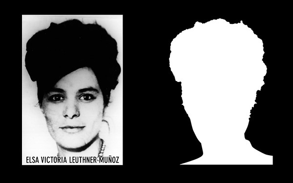 Detail: Profile and silhouette of Elsa Victoria Leuthner Muñoz.  Elsa Victoria Leuthner Muñoz, a teacher and mother of three, was disappeared by police and intelligence agents of the DINA (National Intelligence Directorate) on the 15th of August of 1974. Information about Elsa Victoria Leuthner Muñoz can be found inside the archives of the Museo de Memoria y Derechos Humanos (Museum of Memory and Human Rights).  The information presented here and more can be found online: http://www.memoriaviva.com/desaparecidos/dl/elsa_victoria_leuthner_munoz.htm