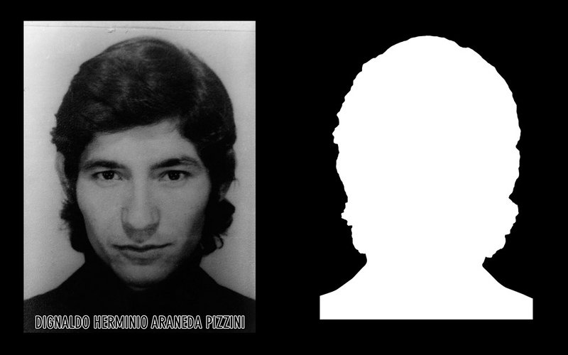 Photograph and Silhouette of Dignaldo Herminio Araneda Pizzini   *Shown here is the detail of the original photograph juxtaposed against its silhouette. (Courtesy Alfredo Jaar Studio)
