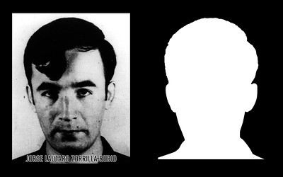 """Photograph and silhouette of Jorge Lautaro Zorrilla Rubio Jorge Lautaro Zorrilla Rubio was a Chilean miner who lived in San Rosendo Argentina, but who was visiting his family during Chile's """"Fiestas Patrias"""" (National Independence Festivities) when the Laja Carabineros (National Police Force) raided his sister's home searching for him on September 15th, 1973. Upon finding out that he was being pursued he presented himself at the San Rosendo Police Station that same day, and was detained by the Laja police operative that had traveled to San Rosendo specifically to round up 'suspects'. He and other detainees were tied together, transported via bus back to Chile, and were executed on the 18th of September, on the National Day of Independence of Chile. *Shown here is the detail of the original photograph juxtaposed against its silhouette. (Courtesy Alfredo Jaar Studio) More information about Jorge Lautaro Zorrilla Rubio can be found inside the archives of the Museo de Memoria y Derechos Humanos (Museum of Memory and Human Rights).  The information presented here and more can be found online: http://www.memoriaviva.com/Desaparecidos/D-Z/zor-rub.htm"""