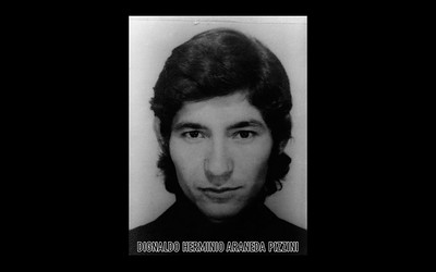 39.	Photograph of Dignaldo Herminio Araneda Pizzini (Courtesy of Alfredo Jaar Studio) Dignaldo Herminio Araneda Pizzini, a University of Chile student that was 23 when he was detained and disappeared by agents of the DINA (National Intelligence Directorate) on August 10th,1974. More information about Dignaldo Herminio Araneda Pizzini can be found inside the archives of the Museo de Memoria y Derechos Humanos (Museum of Memory and Human Rights).  The information presented here and more can be found online: http://www.memoriaviva.com/desaparecidos/D-A/ara-piz.htm