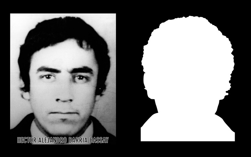 Photograph and silhouette of Hector Alejandro Barria Bassay Hector Alejandro Barria Bassay was a 27 year-old agricultural worker that was detained and disappeared by the Carabineros of Río Negro on October 16, 1973, along with his brother, Guido Ricardo Barría Bassay.  *Shown here is the detail of the original photograph juxtaposed against its silhouette. (Courtesy Alfredo Jaar Studio) More information about Hector Alejandro Barria Bassay can be found inside the archives of the Museo de Memoria y Derechos Humanos (Museum of Memory and Human Rights).  The information presented here and more can be found online: http://www.memoriaviva.com/Desaparecidos/D-B/310.htm