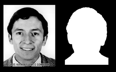 Photograph and silhouette of Luis Hernán Fuentes González  Luis Hernán Fuentes González was detained and disappeared by agents of the military state at his workplace in San Bernardo on December 5, 1974. *Shown here is the detail of the original photograph juxtaposed against its silhouette. (Courtesy Alfredo Jaar Studio) More information about Luis Hernán Fuentes González can be found inside the archives of the Museo de Memoria y Derechos Humanos (Museum of Memory and Human Rights).  The information presented here and more can be found online: http://www.memoriaviva.com/desaparecidos/df/fuentes%20gonzalez%20luis%20hernan.htm