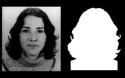 Photograph and silhouette of Jeny del Carmen Barra Rosales	 Jeny del Carmen Barra Rosales was 20 years old and a student nurse at the Catholic University in Santiago when she was first detained by military agents from the San Bernardo School of Infantry on January 17th, 1974. She was released after six months of confinement in Tejas Verdes, a prison and concentration camp. According to witness testimony she was detained again on October 17th, 1977 and disappeared by agents of the DINA (National Intelligence Directorate). *Shown here is the detail of the original photograph juxtaposed against its silhouette. (Courtesy Alfredo Jaar Studio)  More information about Jeny del Carmen Barra Rosales can be found inside the archives of the Museo de Memoria y Derechos Humanos (Museum of Memory and Human Rights).  The information presented here and more can be found online: http://www.memoriaviva.com/desaparecidos/D-B/bar-ros.htm