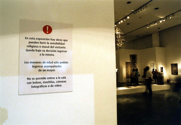 Warning signs posted at the exhibition