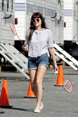 "Emma Greenwell plays badminton at the base camp during the set of the TV series "" Shameless "" in Los Angeles,California."