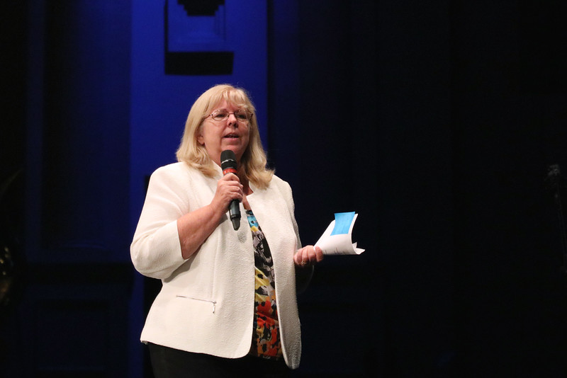 School board member Ellen Jones gives presentation.