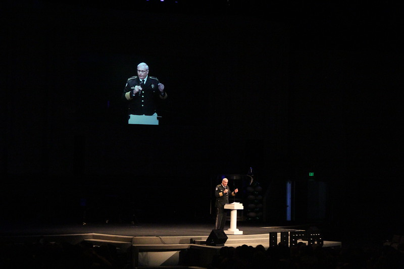 Euless Chief of Police Mike Brown gives the message at Convocation.