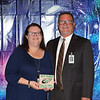 L.D. Bell High School Teacher of the Year Charis Weiss with principal Jim Bannister