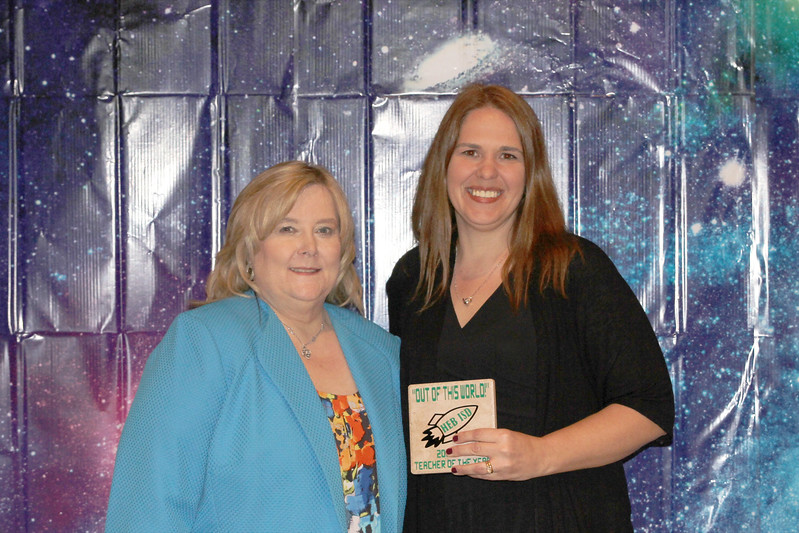 River Trails Elementary Teacher of the Year Lori Alestock with principal Tammy Daggs
