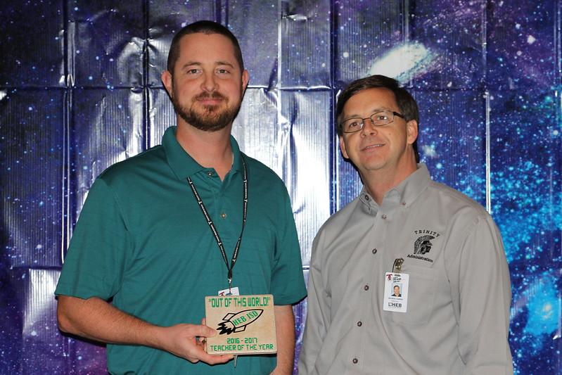 Trinity High School Teacher of the Year Bill Wells with principal Mike Harris