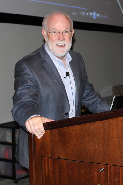 Jeff Burnett at the speaker's podium