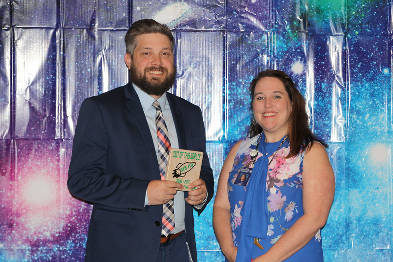 Shady Brook Elementary Teacher of the Year Tobin Hodges with principal Shannon Gauntt