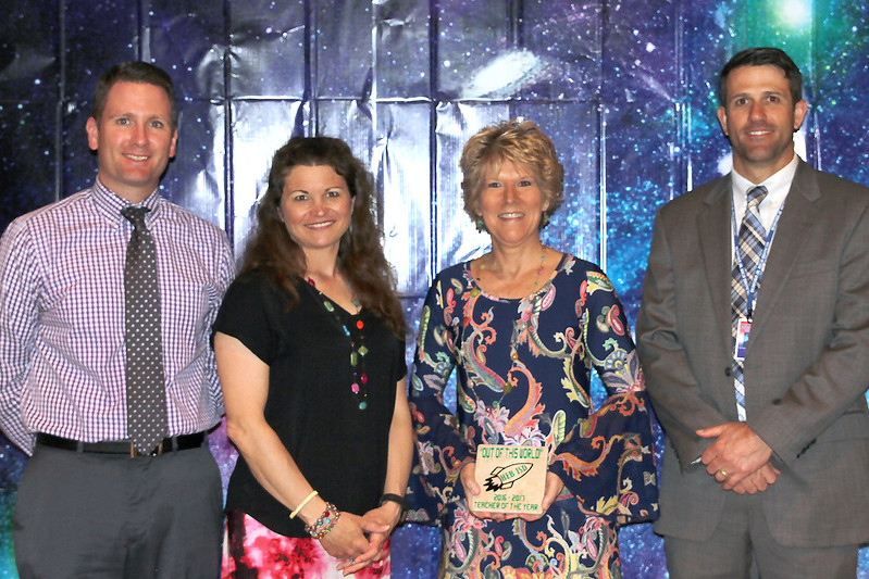 Bedford Junior High Teacher of the Year Tammie Reece with school principals