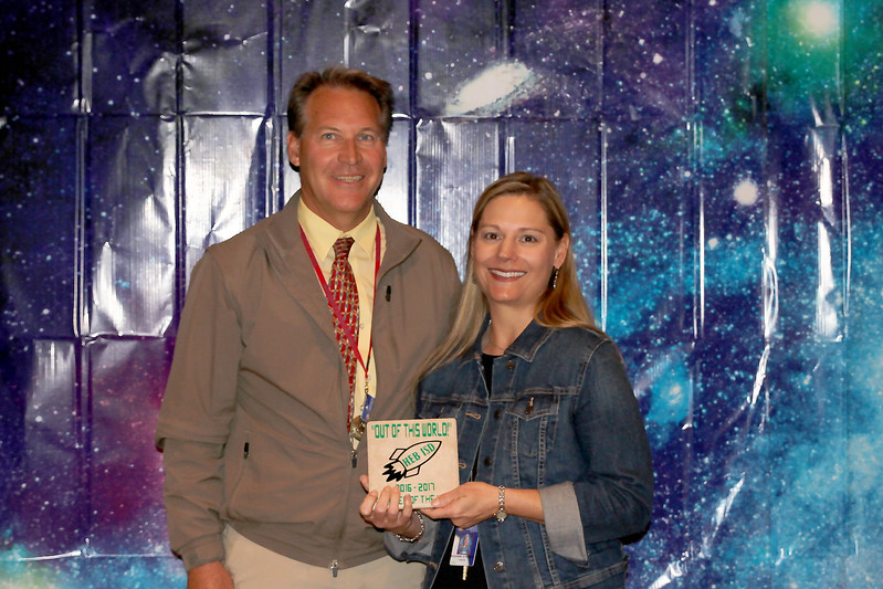 Bedford Heights Elementary Teacher of the Year Suzanne Stroman with principal Brad Mengwasser