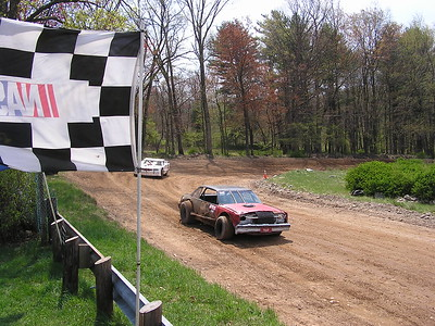Four cars showed up to race at the small dirt oval.
