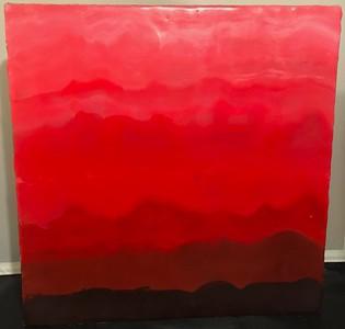 "Desert Sunrise. Encaustic on cradled wood panel. 12"" x 12"""